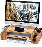 WELL WENG Bambú Elevador del Monitor con Organizador de almacenamiento Soporte Monitor L58xW25 MR3-SG