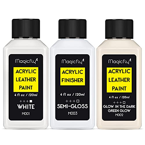 Magicfly Acrylic Leather Paint Kit for Shoes, Sneaker, Bags,Couches, White...