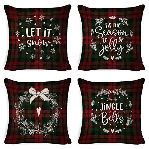 ASDQW Christmas Cushion Covers,4 Pcs Soft Square Pillow Case With Bless Red Black Tartan Printed Cushion Covers For Garden Bedroom Christmas Home Decorative,80X80Cm
