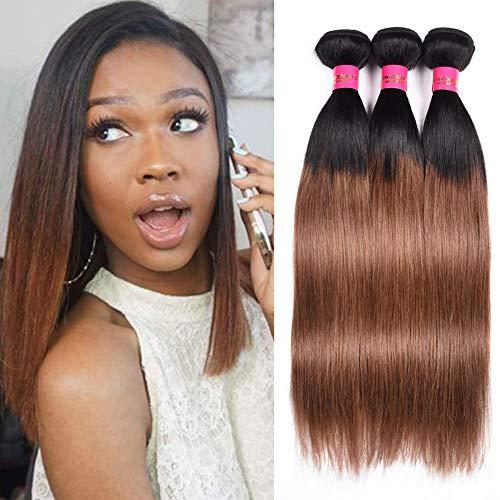 FASHION LADY Human Hair Bundles 8A Unprocessed Virgin Peruvian Straight Human Hair Weave Weft Bundles Dark Roots Brown Color (12 14 16 Inch, 1B/30)