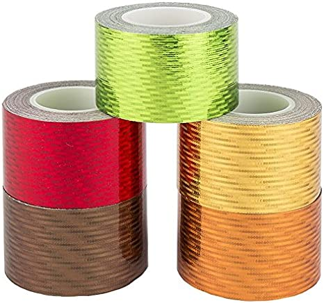 Dekoband 5 Washi Tape gelasert Ideen mit Herz Deko-Klebeband Masking Tape kalte Farben, Laserstars 5 Rollen 30mm x 5m Laseroptik Holografie Hologramm