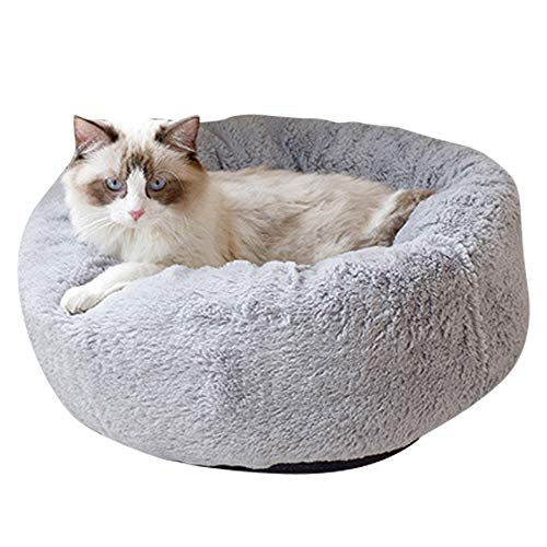 BVAGSS Weich Warm Langes Plüsch Haustier Bett Rund Sofa für Katzen Hund XH029 (S, Dark Grey)
