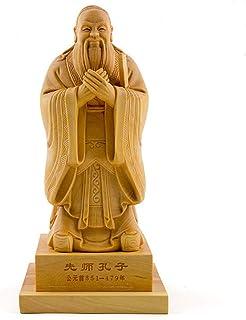 【木彫置物】 柘植製高級木彫り 孔子 彫刻置物・手彫り置物 (サイズ:15/20cm) 高級天然ツゲ木彫り 彫工芸品 車載置物 ハンドメイド