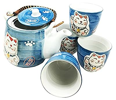 Japanese Design Maneki Neko Lucky Cat Black Ceramic Tea Pot and Cups Set Serves 4 Beautifully Packaged in Gift Box Excellent Home Decor Asian (Blue Maneki Neko Set)