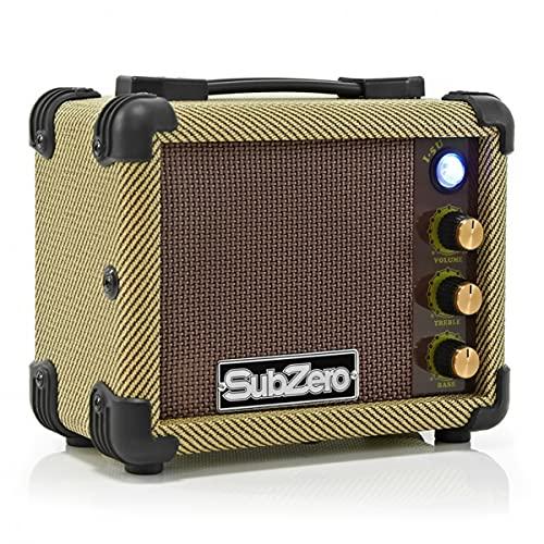 SubZero Micro Ukulele Amp Tweed 5W Battery Powered 2-band EQ MP3 In