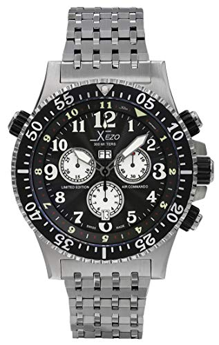 Orologio subacqueo cronografo svizzero Xezo Air Commando 30 Bars-990 FT (Air Commando D45-GS)