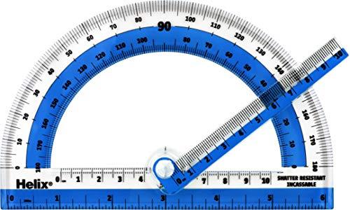 "1Pc Plastic Protractor 180 Degrees Clear Student Z2E8 Set 4/"" Math Measurment"