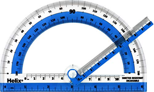 Helix Shatter-Resistant Swing Arm 180 Degree Protractor, 6 Inch / 15cm, Assorted Colors