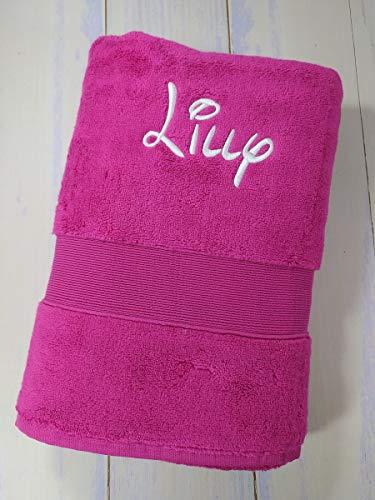 Handtuch mit Namen bestickt Duchtuch Geschenk Badetuch 600 g/m2 (Pink, 70x140 cm)