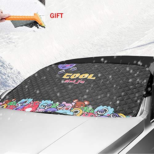 Fankr Autovoorruitafdekking, anti-vorst, anti sneeuwafdekking, auto-zonwering, anti-uv-bescherming, regen ijs, universeel, 4 afbeeldingen, 145 x 99 cm