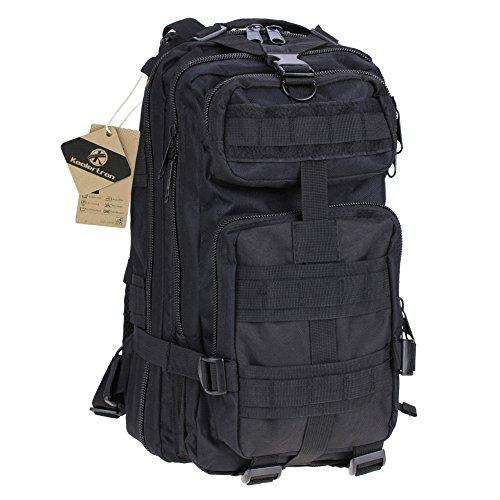 Koolertron Uomo Donna Militare Tattico Zaino 25litri trekkingrucksacke Back Pack traspirante, nero