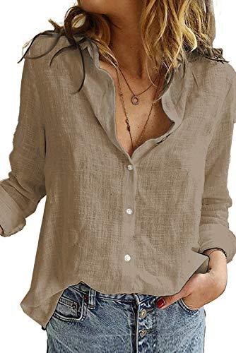 Uusollecy Bluse Damen Sommer, Langarm V-Ausschnitt Blusehemd, Casual Baumwolle Button-down Langarmshirt, Einfarbig Loose Oberteile Tops Shirts Für Frauen Teen Girls Kaffee M