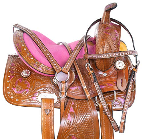 Acerugs 10 12 13 14 Premium Leather Western Pleasure Trail Show Youth Kids Barrel Racing Pony OR Horse Saddle TACK Set (12)