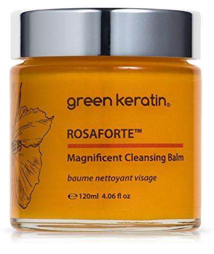 Green Keratin ROSAFORTE Magnífico Bálsamo Limpiador || Rosa, Rosa mosqueta y Vitamina E || Limpiador y Desmaquillante de rostro y ojos para la piel seca y madura || 120ml