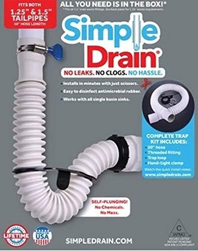 Simple Drain-Flexible Rubber P-Trap Fits 1 1/2