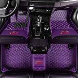Car Floor Mat Customized Automotive Front & Rear Carpet Diamond PU Leather All Weather Protection Full Cover Set for Cars Truck Van SUV Personalized Text/Logo Purple