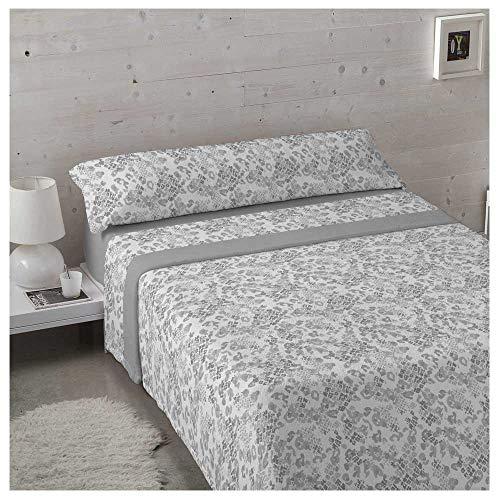 Juego de sabanas Invierno Tejido CORALINA Camp Gris Cama de 90 x 190/200 - Color Gris