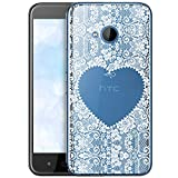 OOH!COLOR Schutzhülle Kompatibel mit HTC U11 Life Hülle Silikon Hülle Handy Tasche transparent Bumper mit Coolen Aufdruck Motiv Wießes Spitzenherz Herz (EINWEG)