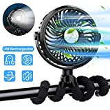 ximu stroller fan, usb rechargeable 3 speeds mini handheld fan with flexible tripod & led light,