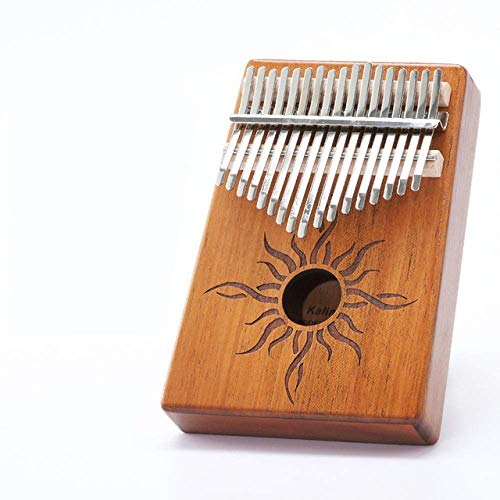 AGWa Daumenklavier Protable Klavier 17 Tasten Daumenklavier Hergestellt von Single Board Holz Mahagoni Korpus Musikinstrument,Brennende Sonne