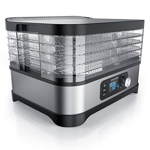Arendo - Dörrautomat mit Temperaturregler 400 W - Edelstahl Dörrgerät für Lebensmittel Fleisch Früchte Gemüse - mit Timer bis zu 72 h - 35-70 Grad - 5 Einlegefächer - GS - Dehydrator - BPA frei