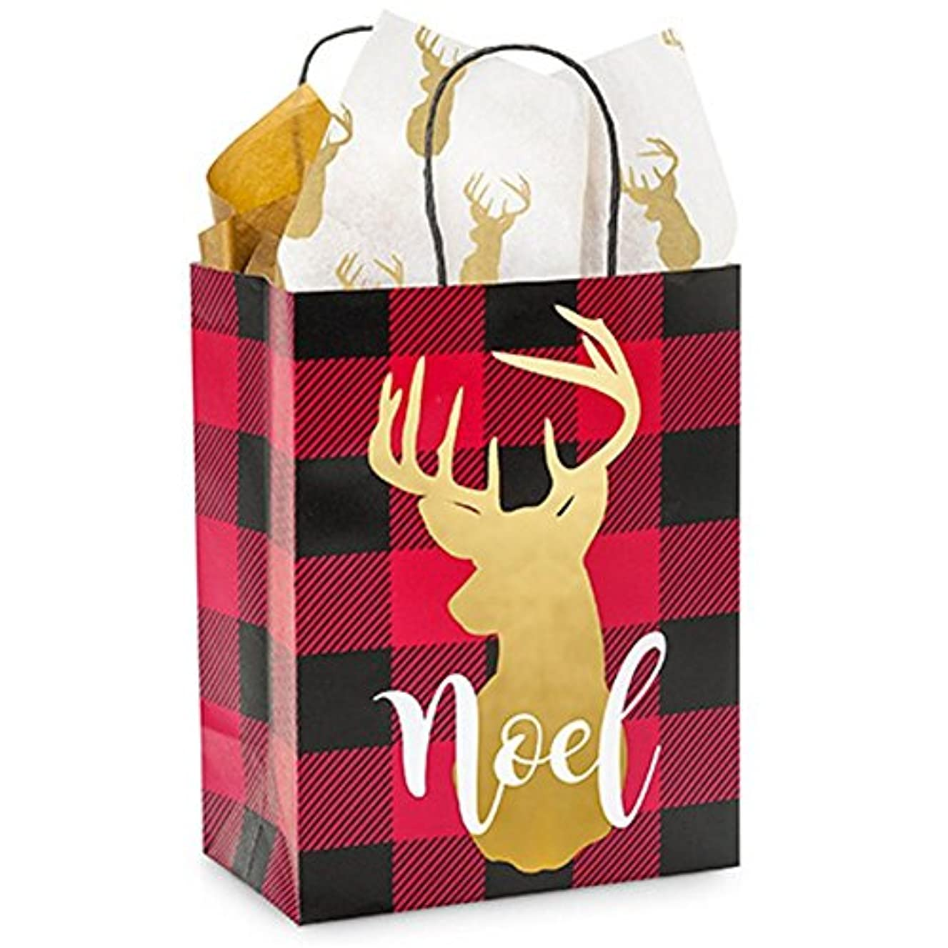 NW Buffalo Plaid Christmas Paper Shopping Bags - Cub Size - 8.25in. X 4.75in. X 10.5in. - 25 Pieces
