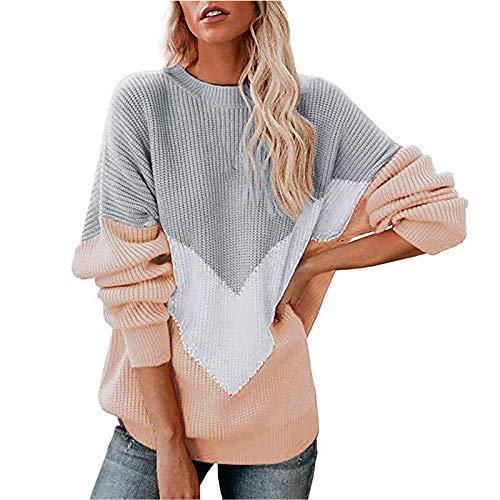 Top de manga larga para mujer, jersey de manga larga con cuello redondo para mujer a juego con un jersey largo de gran tamaño, blusa de mujer lisa para regalos de Pascua (Khaki-XL)