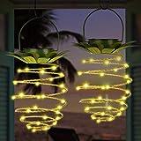 EEEKit 2 Confezioni di luci solari per Esterni in Metallo Design a Forma di Ananas Lanterna a Sospensione a LED Impermeabile con Maniglia Auto on/off Decorativo per Giardino Patio Via Deck Yard