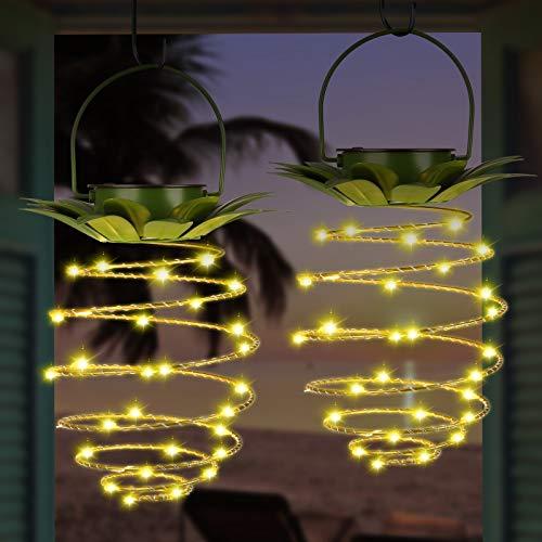 2er Pack Solarleuchten Metall Metall Ananas Design LED Hängelaterne Wasserdicht mit Griff Auto EIN/Aus Dekorativ für Garten Patio Pathway Deck Yard