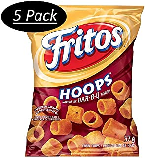 Fritos Hoops Bar-B-Q Corn Chips 57g/2oz - 5 Pack {Imported from Canada}