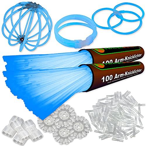 200 Knicklichter BLAU | inkl. 200x TopFlex | 4x Dreifach | 4x Ball Verbinder | Premiumqualität