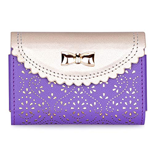WWW Business Card Holder,[Luxurious Romantic Carved Flower] Leather Business Card Case with [Magnetic Shut] for Men & Women, Holds 25-30 Business Cards Purple
