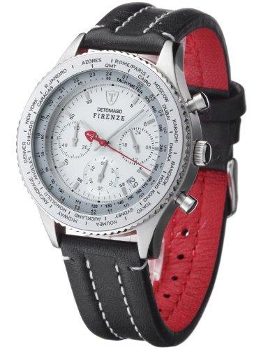 DETOMASO FIRENZE Herren-Armbanduhr Chronograph Analog Quarz schwarzes Lederarmband weißes Zifferblatt SL1624C-CH