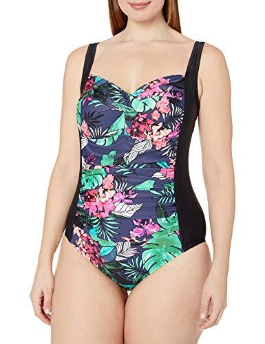 Amazon Brand - Coastal Blue Women's Plus Size One Piece Swimsuit, Tropical Print, 1X (16W-18W)