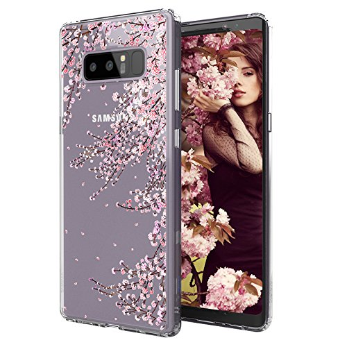 MOSNOVO Case for Galaxy Note 8, Cherry Blossom Floral Flower Printed Clear Design Transparent Plastic Hard Slim Case with TPU Bumper Protective Case Cover for Samsung Galaxy Note 8