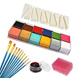 CCbeauty Face Body Paint Oil 12 Colors Art Party Fancy Halloween Make Up Kit,with 1 Fake Scab Blood,1 Stipple Sponge,10 Brushes and 10 Triangle Sponge Wedges
