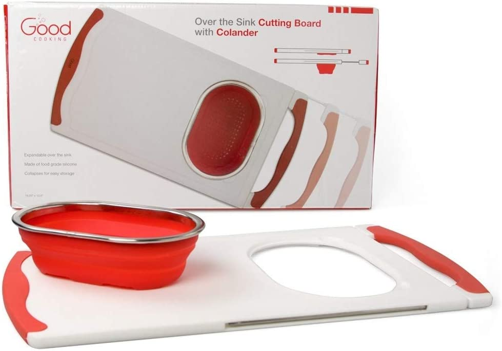 Over the Sink Super sale period limited Cutting Board Extra Colander with and Very popular! Collapsible
