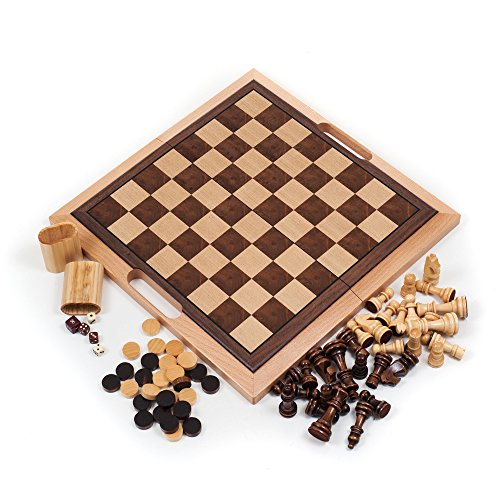 Hey! Play! Deluxe Wooden Chess, Checker and Backgammon Set, Brown
