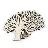 OULII Adornos de árbol de madera en blanco para la decoración de la boda de DIY manualidades adornos Navidad, paquete de 10 (Color madera)