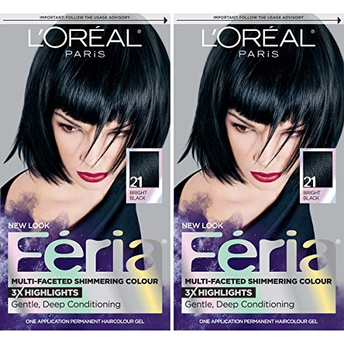 L'Oreal Paris Feria Multi-Faceted Shimmering Permanent Hair Color, 21 Starry Night, Pack of 2, Hair Dye
