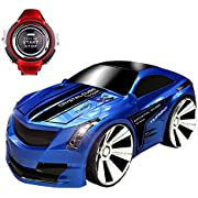 SZJJX Voice Command RC Car Rechargeable 2.4Ghz 6CH Smart Watch Radio Control Creative Voice Activated Racing Cars Remote Control Vehicles Truck Blue
