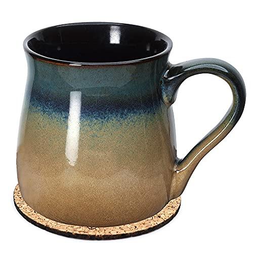 Large Pottery Coffee Mug 24 oz - Jumbo Tea Cup - Oversized Ceramic Soup Mug with Handle - 1 PCS w/Coaster (Blue to Tan) - Dishwasher and Microwave Safe