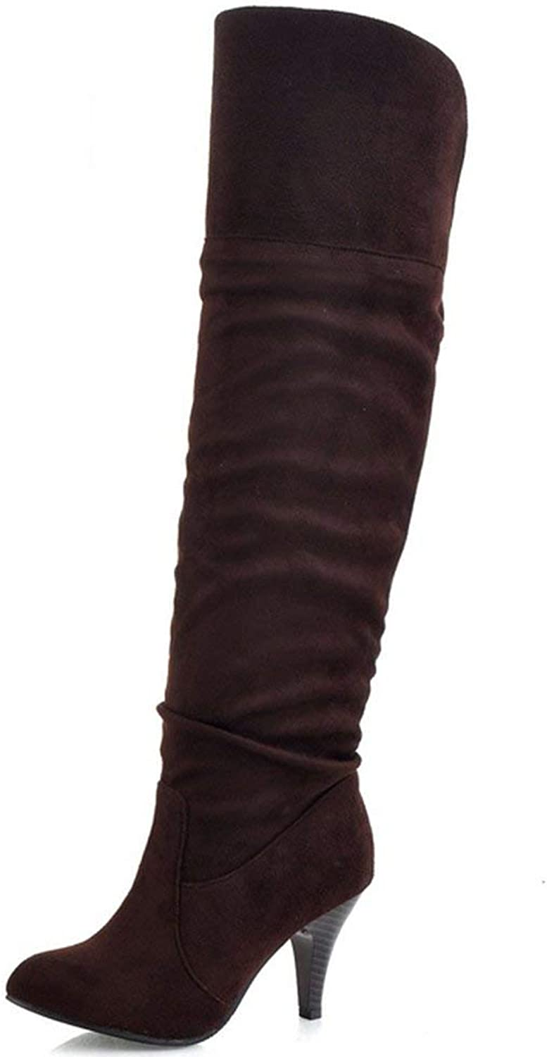 Unm Women Classical Autumn Winter Pull-on shoes Stiletto Long Boots