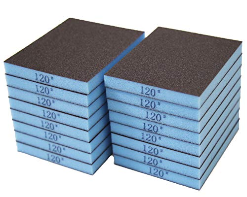 COSPOF Sanding Sponge 120 Grit 16 Pcs, Sanding Blocks for Wood, Metal, Paint and Drywall, Wet and Dry Sanding Sponges for Kitchen Cleaning.