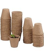 Funmo Maceta Biodegradable, Plantas de Fibra Macetas para Flores Planta pote con Etiquetas, Maceteros ecológico para Jardín Plántulas y Trasplantes, 100% Biodegradable, orgánico y ecológic