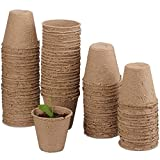 Funmo 80 Pezzi Vasetti di Torba Plant Starters Protezione Ambientale biodegradabili vasi con vivaio Giardino Etichette per Piante e Semi di Erbe Starter Kit 7.5 cm
