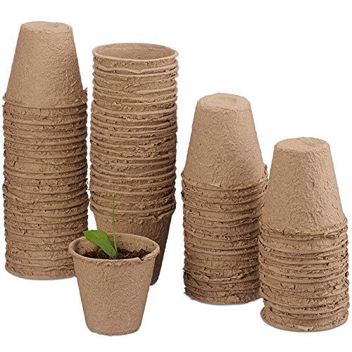 Funmo 80 Pièces Pots Biodégradables, Petits Pots de Fibre, Pot Jardinage en Set, Godet Semis et Compostable pour Germer sans Plastique sans Tourbe