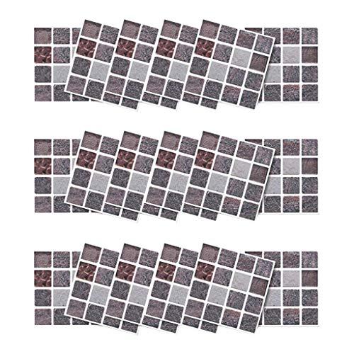 18 stück Wandtattoo Fliesenaufkleber Bereift Mosaik Wandsticker 3D Mosaik Aufkleber Wandsticker Küche Bad Badezimmer Fliesenaufkleber Gesamt 10 x 200 cm 3D Mosaik Aufkleber