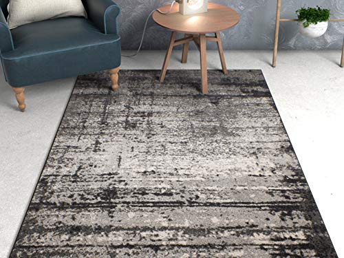 Grey Vintage Stripe Modern Casual Area Rug
