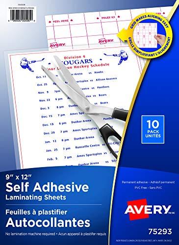 Avery Clear Laminating Sheets, 9' x 12', Permanent Self-Adhesive, 10 Sheets (73603)